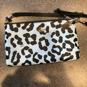 Coach ocelot crossbody clutch purse